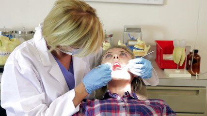 Teenage Girl Having Dental Check Up