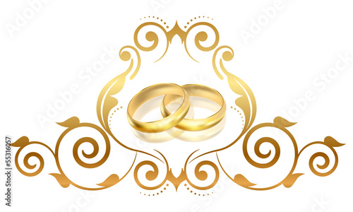 Vector floral frame with gold rings
