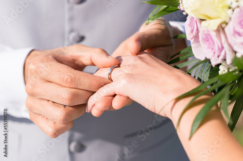 Man Giving Wedding Ring To Her Wife