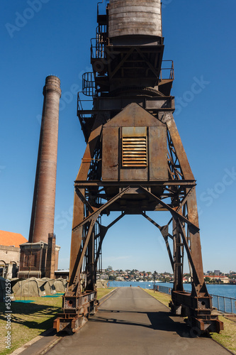 old crane with chimney on Cockatoo Island