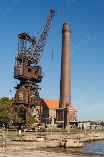 rusty crane with chimney on Cockatoo Island