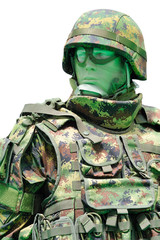 Soldier with digital camouflage uniform