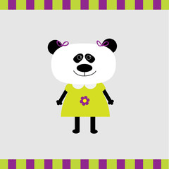 Cartoon panda girl card