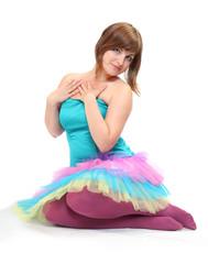 Pretty dancer dressed in retro costume.