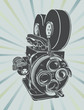 Vector illustration of a vintage video camera