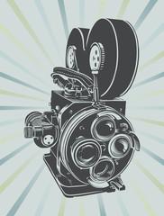 Vector illustration of a vintage video camera