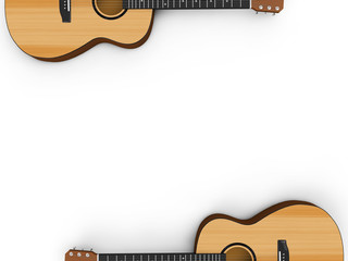 Isolated on white acoustic guitar