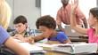 Teacher Helping Female Pupil In Class