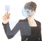 Young woman with security iris and fingerprint scan isolated