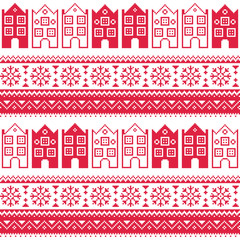 Christmas knitted seamless pattern with town houses