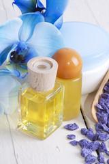 aceites y orquídea azul