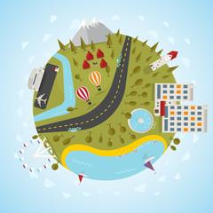 Resort planet. Vector illustration.