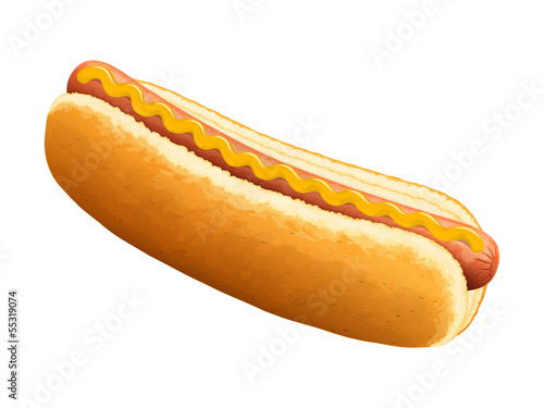 Hot dog with mustard. Vector illustration.