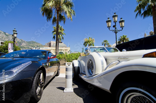 Plagát Concept of wealth, sports car and limousine in Monaco