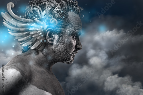 Ancient hero, fantasy image, ancient gods classic style with blu