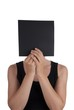 Person Hiding Behind a Black Square
