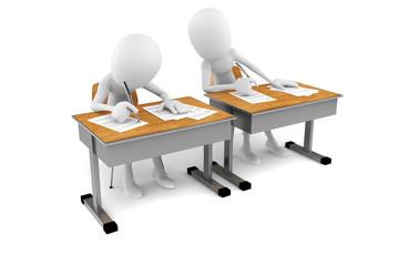 3d man in classroom, exam test