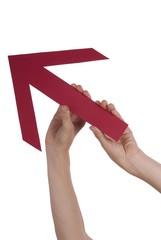 Hands Holding a Rising Arrow