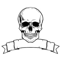 Black and white complete human skull with a ribbon banner.