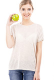 Beautiful woman with a green apple