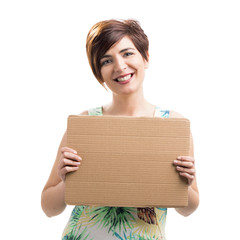 Beautiful woman with a cardboard