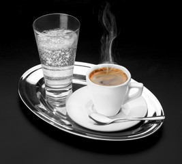 cup of coffee and carbonated water
