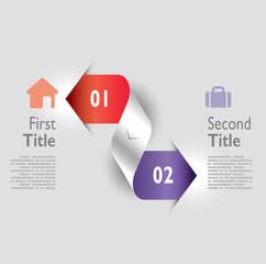 Infografica esempi frecce colorate numeri nastro