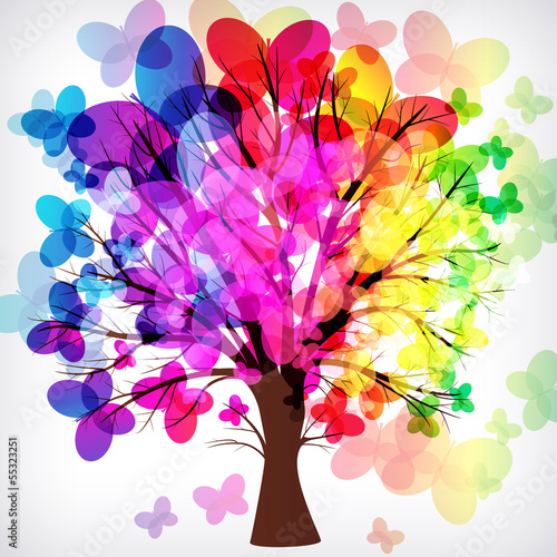 abstract background, tree with butterflies.