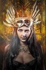 Elegant Queen, young with golden mask, ancient goddess