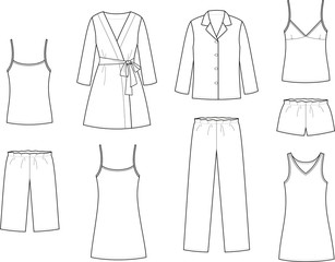 Vector illustration of women's sleepwear