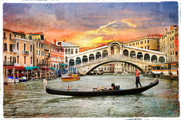 Venetian sunset, artwork in  panting style