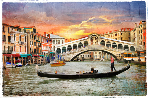 Venetian sunset, artwork in  panting style - 55323691
