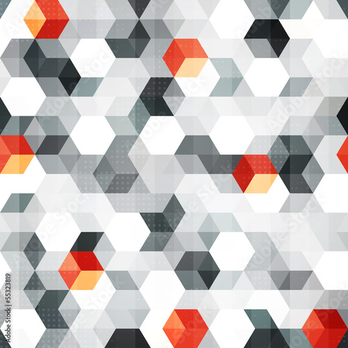 abstract cubes seamless pattern with grunge effect