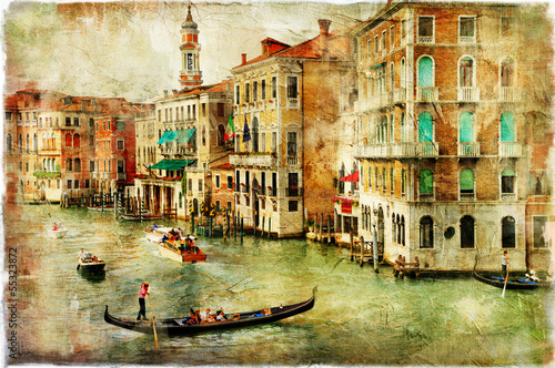 Fotobehang Venetie Venice -artwork in painting style