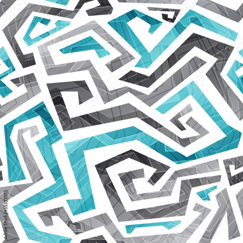abstract blue curved lines seamless pattern