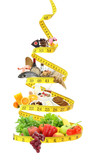Fototapety Diet food pyramid with measure tape