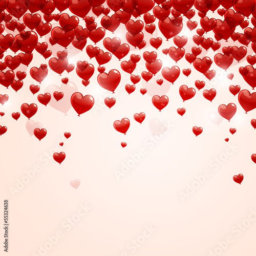 Vector Illustration of a Romantic Background with Heart Balloons