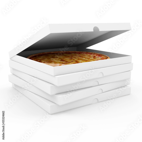 Opened pizza box isolated on white background