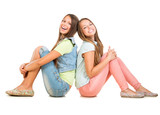 Two Smiling Teenage Girls Isolated on White Background. Friends