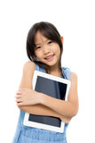 Happy Asian child with tablet computer with white background poster