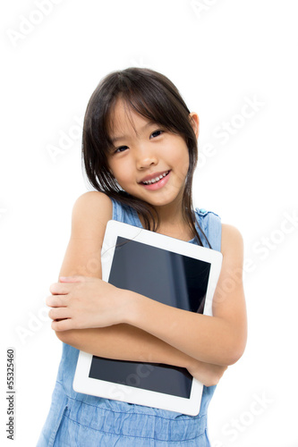 Happy Asian child with tablet computer with white background