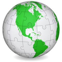 Cartographic puzzle of America