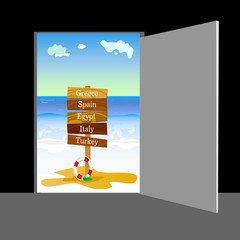 beach behind the door vector illustration part two
