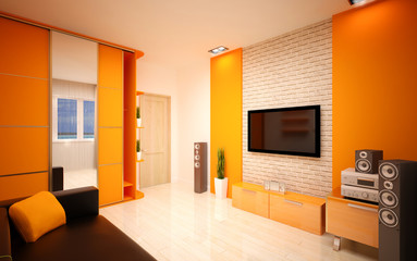 Modern living room bright orange shades