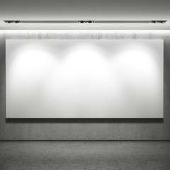 White blank banner on the wall