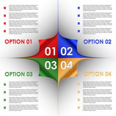 Options progress of colorful bent corners background