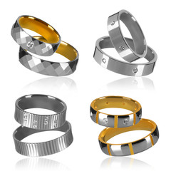 four pairs of wedding rings