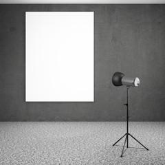 spotlight lighting blank white board