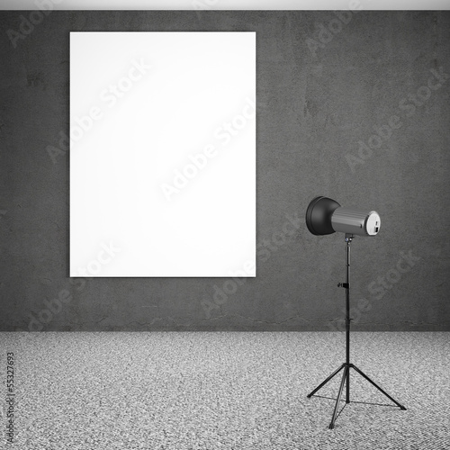 spotlight lighting blank white board