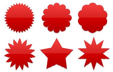 3D Badget, Sterne, rot